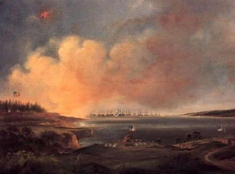 THE BOMBARDMENT OF FORT McHENRY  BY ALFRED JACOBS MILLER 1810-1874